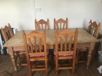 Farm house dining table & 6 chairs
