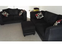 Set of 3 seat and 2 seat sofa + footstool