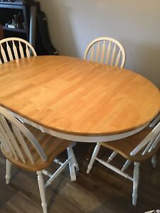 Oak and White kitchen table with chairs and bench