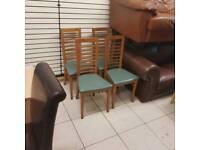 3 oak wood rail back chairs £30