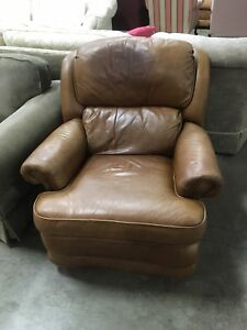 Brown genuine leather BarcaLounger #HFHReStore