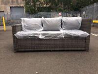 3 seater Grey Rattan Garden Settee