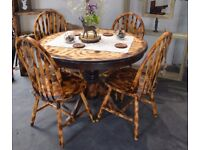 Pine Burn Wood Round Dining Table & 4 Wooden Chairs
