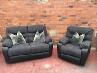 DFS New Grey Reclining Suite - 2 Seater Sofa & Armchair - Can Deliver