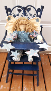 Wicker doll high chair with doll 21 height