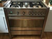 SMEG Range Gas Cooker, splash back panel and hood.