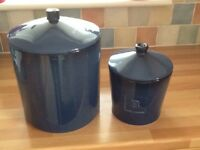 Bread bin and biscuit barrel