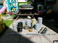 Various weights dumbell barbell