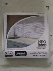Neo Splash Artica Mont Blanc marble and glass fusion wall tile