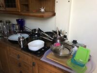 Saucepans glasses jars slow cooker baking tins jug baseball free to collector for next hour !