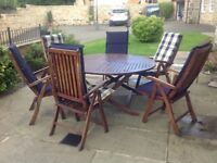 Garden Furniture - A Large Table & Six Chairs with Individual Cushions