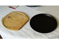 Metal plate 10 inches, for cooking with wooden support plate