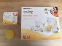 New Medela Swing Essential Breast Feeding Pack-RRP:£139 + Nipple Shields and Pump & Save bags £20