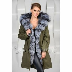 jacket with rabbit fur lining with a silver fox fur hood