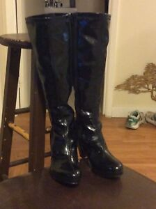 Vinyl shiny Black High Heel Boots Size 5.5 for Sale