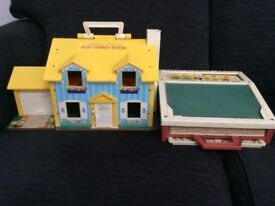Vintage fisher price house and little desk