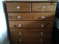 PINE EFFECT SET WARDROBE AND DRAWS