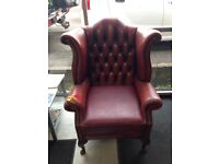 Original Red Leather Chesterfield Chair