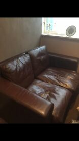 Chocolate Brown Leather Sofa For Sale!