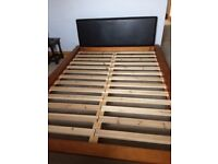 Double bed frame with headboard
