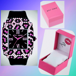 Stunning Designer Watch By BETSEY JOHNSON Brand New Pink Bling