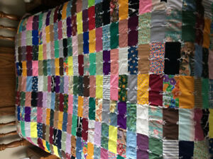 HAND MADE BLOCK TIED DOUBLE QUEEN SIZE QUILT