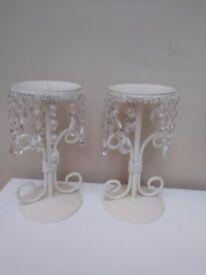 Beautiful vintage crystal drop candle holders