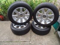 4 x GENUINE VW T4 CADDY ALLOY WHEELS AND NEW TYRES 205 55 16 ONLI 100 miles
