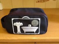 TED BAKER NAVY CANVAS TOILETRY BAG