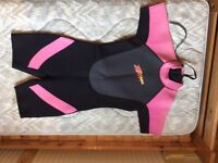 "Child's shorty wetsuit, size large, 35"" chest"
