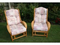 Pair of cane armchairs.