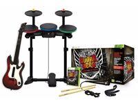 Wii ROCK BAND Guitar Hero Warriors of Rock Drums Guitar Mic 3 Games Metallica Van Halen