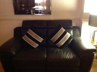 Black Leather / Suede Sofas x 2 & Armchair Excellent Condition