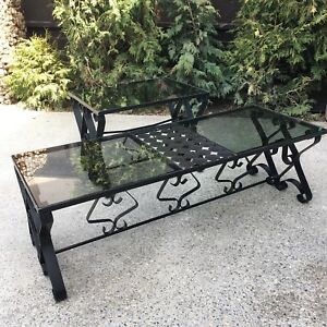 Coffee &. End table mid century wrought iron glass