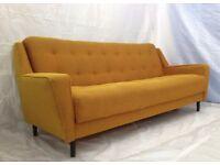 Vintage Retro Mid Century Gold Studio Sofa Day Bed 1950s Danish Modernist Chic
