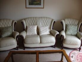 Small 2 seater settee and 2 arm chairs.