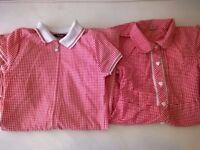 2 Girls red school uniform summer dresses 7-8 years
