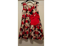 H&M MINNIE MOUSE CLUBHOUSE PARTY BOW SILKY SHINY LINED DRESS LABEL STATES 7-8 YEARS