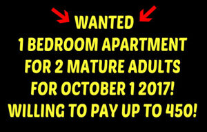 LOOKING FOR A 1 BEDROOM APARTMENT FOR OCTOBER 1!!!!