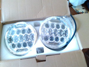 LED headlights for a Jeep TJ CJ, Wrangler and will fit Harley's