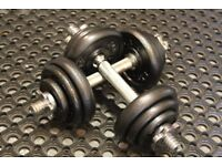 Pair of York cast iron weights dumbbells / dumbells (22kg, 11kg each ). Home gym, exercise gear