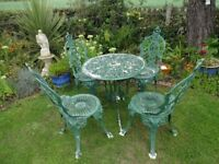 CAST ALUMINIUM GARDEN FURNITURE SET -- TABLE AND 4 CHAIRS ( CROWN TOPS ) -- VICTORIAN STYLE --
