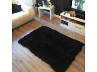 Black real sheep skin rug