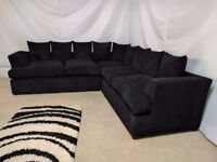 LARGE LIVERPOOL CORNER SOFA IN JUMBO BLACK + FREE FOOTSTOOL | SWIVEL CHAIR | UK EXPRESS DELIVERY