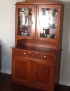 1940s refinished pine China cabinet