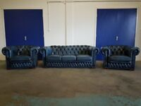 ANTIQUE BLUE LEATHER CHESTERFIELD LOUNGE SUITE 3 SEATER SOFA / SETTEE & 2 ARMCHAIRS / CLUB CHAIRS