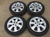 """Vauxhall corsa 15"""" alloy wheels - good tyres - set of 4"""