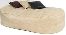 6 FT CREAM FAUX LEATHER BEANBAG BED BEAN BAG SOFA BED