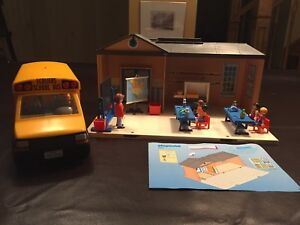 Playmobil school house and bus