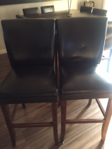 2 leather bar stools for sale